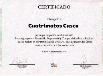 "Certificado ""Cuatrimotos Cusco"""
