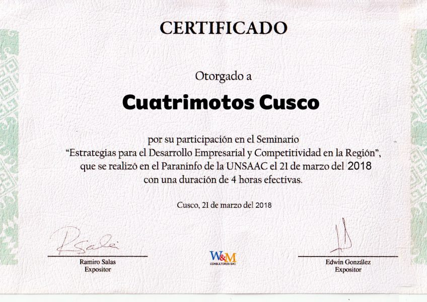 "Certificado ""Cuatrimotos Cusco"""