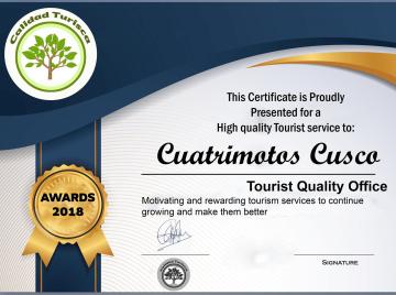 Certificado Cuatrimotos Cusco