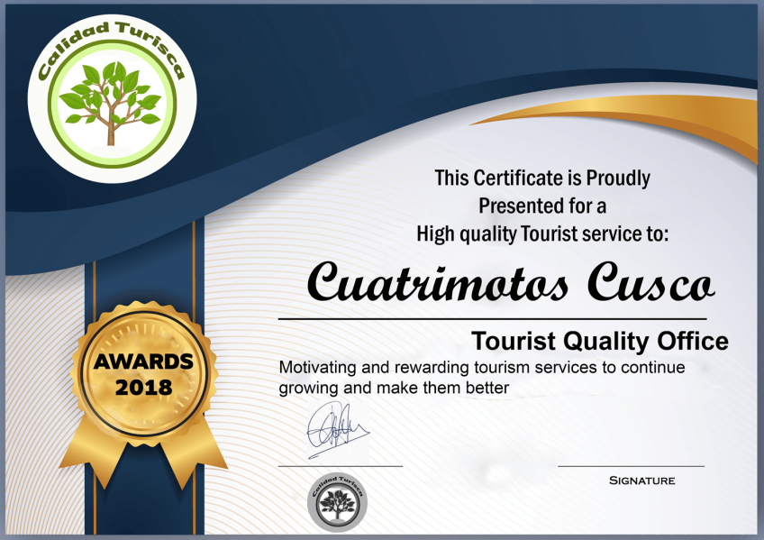 Certificado Cuatrimotos Cusco