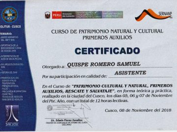 Certificado Samuel – SERNANP