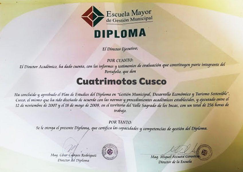 "Diplomado ""Cuatrimotos Cusco"""